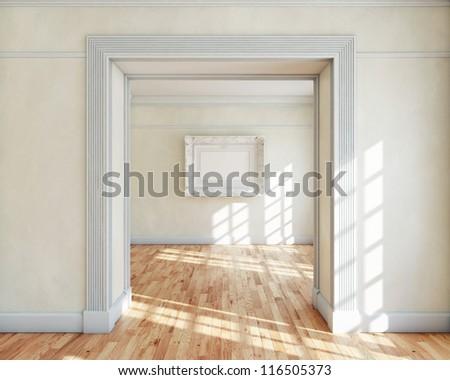 Frame in empty classy interior