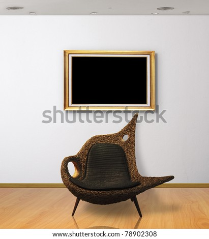 Frame in white room