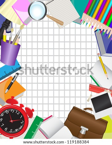 frame is composed of various school supplies on the background of the sheet in a cage