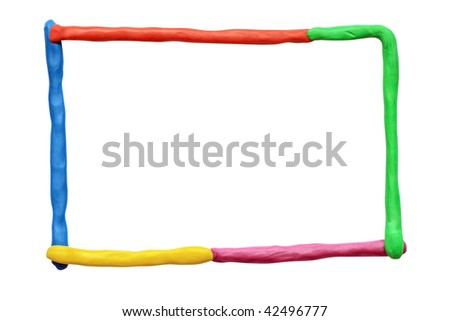 Frame made from colored plasticine. Isolated on white with clipping path