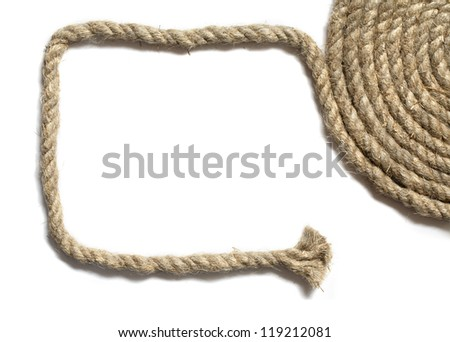 Frame made from hemp rope on white background