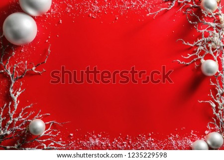 Frame made of beautiful Christmas decorations on color background #1235229598