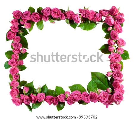 Frame made of beautiful pink roses and blossoms, isolated on white. Great as a greetings card, for a love message, for a wedding and so on.