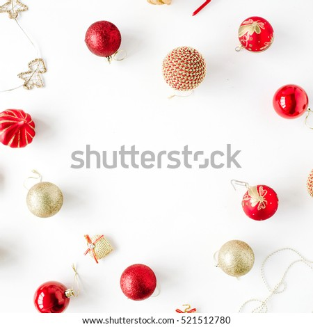 frame made of christmas decoration with christmas glass balls, tinsel, bow. christmas wallpaper. flat lay, top view #521512780