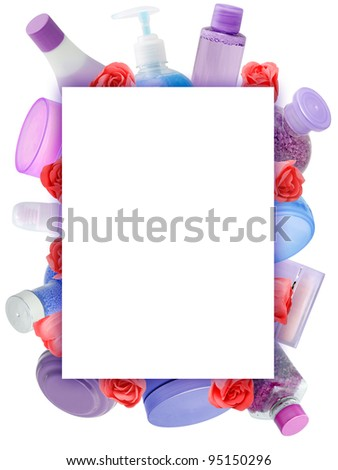 Frame made of cosmetics isolated on white