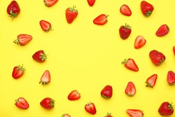 Frame made of fresh ripe strawberry on color background