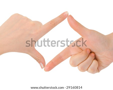 Frame made of hands isolated on white background