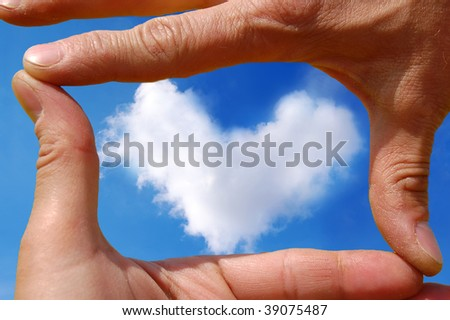 Frame made of hands over heart cloud - stock photo