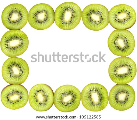 frame made of kiwi slices isolated on white background