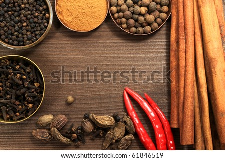 Frame made of many kinds of spices. Rustic style