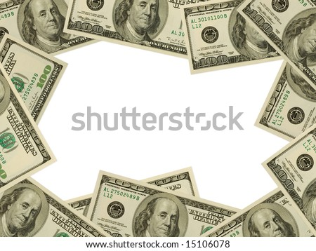 Frame made of money isolated on white background