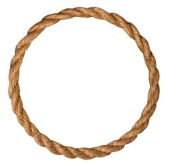 frame made of natural rough rope rolled into an endless ring on a white background