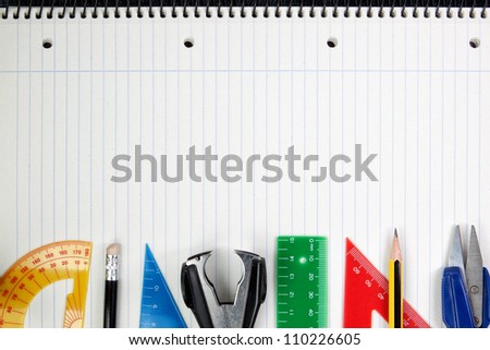 Frame made of paper and school Accessories