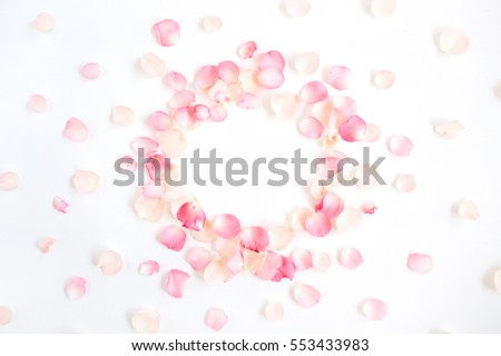 Frame made of pink roses petals on white background. Flat lay, top view. Valentine's background #553433983