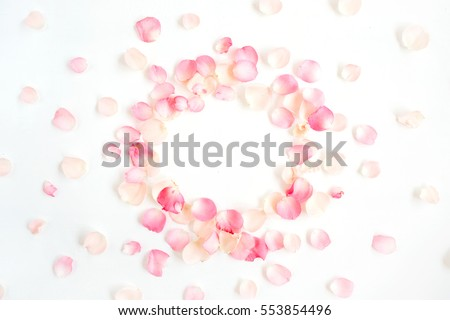 Frame made of pink roses petals on white background. Flat lay, top view. Valentine's background #553854496