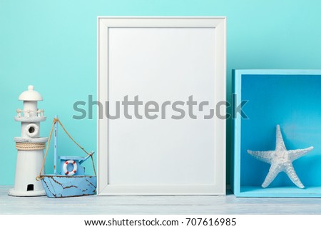 Frame mock up on wooden table. Nursery or kids room interior background