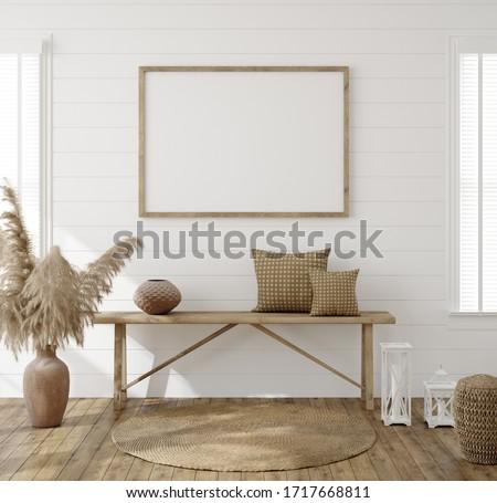Frame mockup in farmhouse living room interior, 3d render Foto stock ©