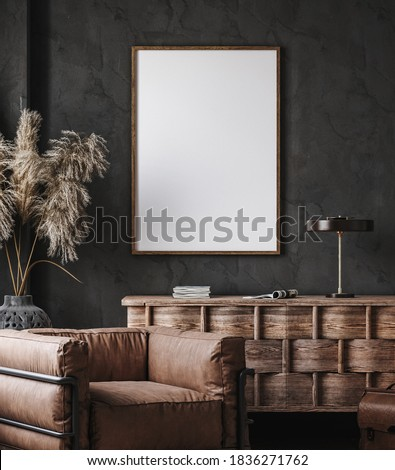 Frame mockup in modern industrial interior with leather furniture, luxury office, 3d render Foto stock ©