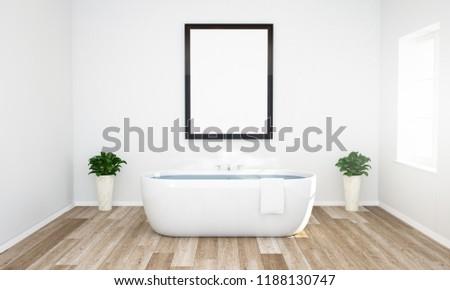 frame mockup on a bathroom 3d rendering