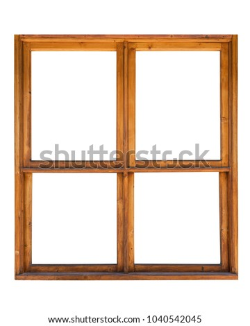 Frame of a wooden window isolated on white background