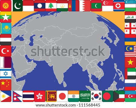 frame of Asian countries flags around the globe illustration