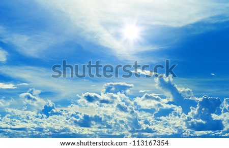 frame of beautiful clouds with blue sky and sun beam.