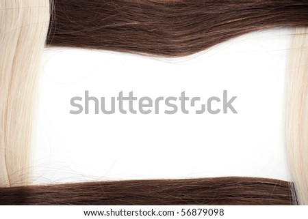 Frame of blond and brown hair
