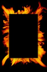 Frame of blurred bright burning hot fire flames against black background. Close up, copy space for your design, text or images
