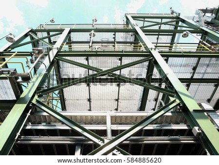 Frame of building and grating in construction site view from bottom #584885620
