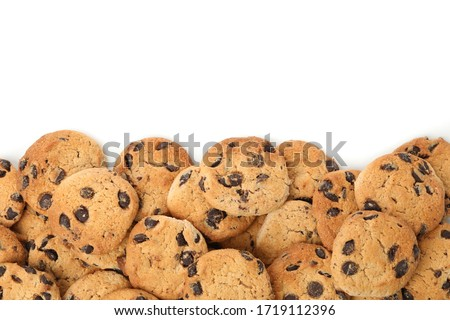 Frame of chocolate chip cookies isolated on white background Stockfoto ©