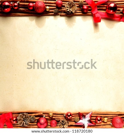 Frame of Christmas ornament.Red ribbon.