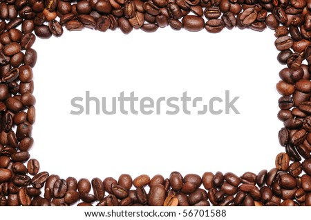 frame of coffee beans with empty white center