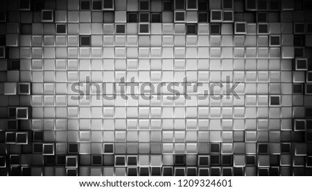 Stock Photo Frame of dark gray cubes and free space. Abstract geometric background. 3D rendering