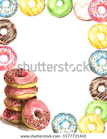 Frame of donuts poured with pink, blue, green, chocolate and yellow icing and sprinkled with multi-colored sprinkles on a white background