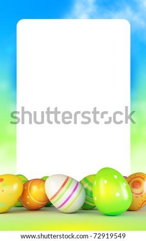 Frame of Easter eggs and blue sky