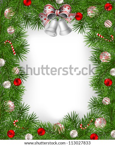 Frame of fir branches decorated with baubles and bells