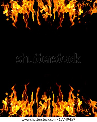 frame of fire burning on two sides