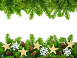 Frame of fresh fir twigs with stars, snow and cones, studio isolated on white background