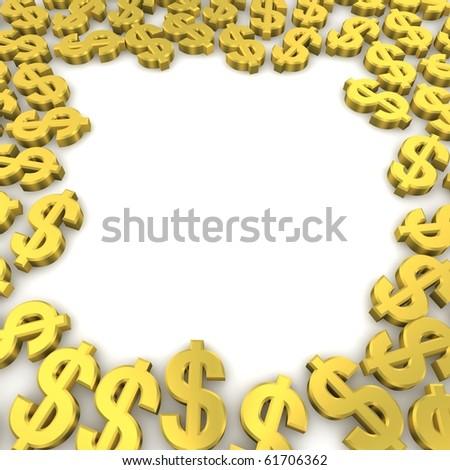 Frame of golden dollar currency symbols. 3d rendered image