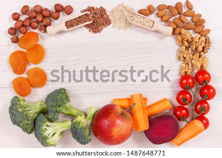 Frame of healthy food for power and good memory, nutritious eating containing natural vitamins and minerals