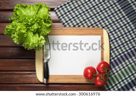 frame of kitchen accessories for the menu