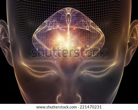 Frame of Mind series. Abstract design made of human head wire-frame and fractal elements on the subject of brain, mind, reason, intuition, inner energy and mystic consciousness