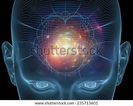 Frame of Mind series. Arrangement of human face wire-frame and fractal elements on the subject of brain, mind, reason, intuition, inner energy and mystic consciousness