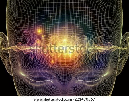 Frame of Mind series Background composition of human face wire-frame and fractal elements to complement your layouts on the subject of mind reason thought mental powers and mystic consciousness