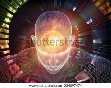 Frame of Mind series. Composition of human face wire-frame and fractal elements on the subject of brain, mind, reason, intuition, inner energy and mystic consciousness