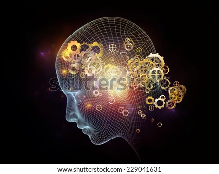 Frame of Mind series. Creative arrangement of human face wire-frame and fractal elements as a concept metaphor on subject of mind, reason, thought, mental powers and mystic consciousness