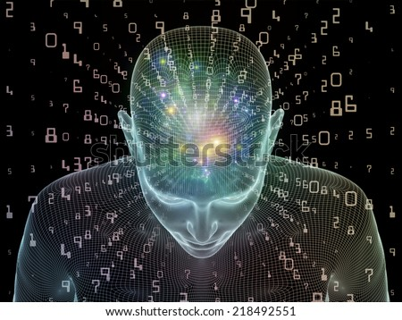 Frame of Mind series. Interplay of human head wire-frame and fractal elements on the subject of brain, mind, reason, intuition, inner energy and mystic consciousness