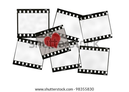 frame of 35mm film strip with heart, isolated on white