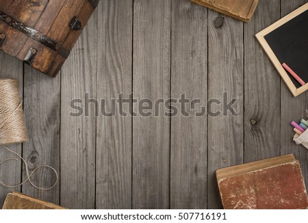 Frame Of Old Items On Wooden Table, Top View