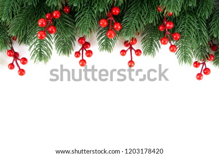 Frame of pine tree and red berry decoration on white background for put the text and invitation card for Christmas tradition season. #1203178420